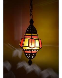 Antik prosklená lampa v orientálním stylu, žluto-červená,ruční práce, cca 27x52