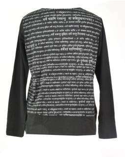 Pánské černé tričko s dlouhým rukávem a potiskem Mantra