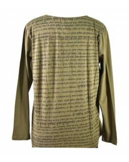 Pánské khaki tričko s dlouhým rukávem a potiskem Mantra
