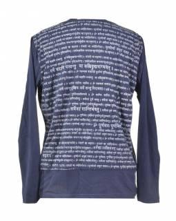 Pánské tmavě modré tričko s dlouhým rukávem a potiskem Mantra