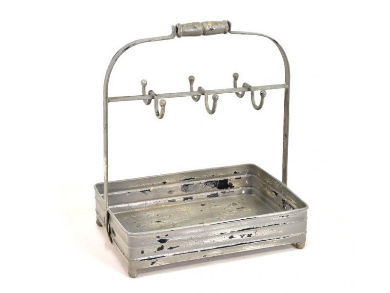 Vintage kovový tác s věšáčky, antik patina, 38x27x45cm
