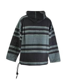 Pánská černo-šedá pruhovaná bunda s kapucí, kapsa klokanka