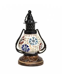 Mozaiková lucerna na svíčku, multibarevná, sklo, ruční práce, 10x10x22cm