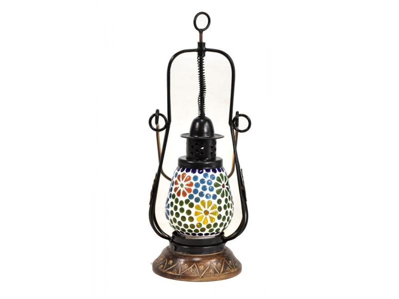 Mozaiková lucerna na svíčku, multibarevná, sklo, ruční práce, 12x12x32cm