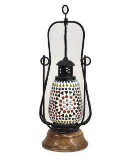 Mozaiková lucerna na svíčku, multibarevná, sklo, ruční práce, 14x14x41cm