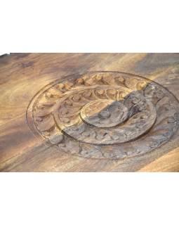 Stolek z mangového dřeva, ručně vyřezávaný, 62x62x21cm