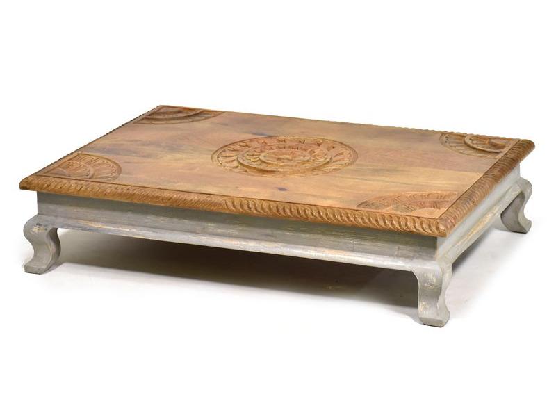 Stolek z mangového dřeva, ručně vyřezávaný, 90x62x21cm