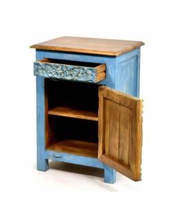 Noční stolek s vyřezávanými dvířky, šuplík, mango, 51x38x72cm