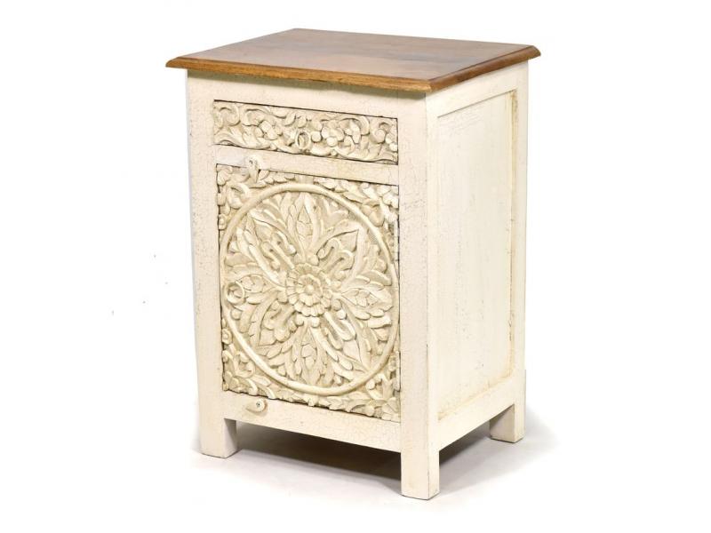 Noční stolek s vyřezávanými dvířky, šuplík, mango, 51x39x72cm
