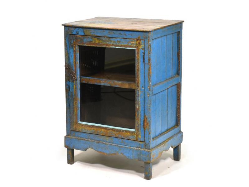 Prosklená skříňka z antik teakového dřeva, 55x38x79cm