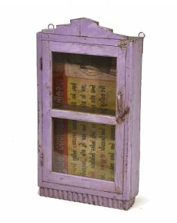 Stará prosklená skříňka z teakového dřeva k zavěšení na stěnu, 46x12x83cm