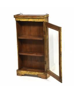 Stará prosklená skříňka z teakového dřeva k zavěšení na stěnu, 38x15x72cm