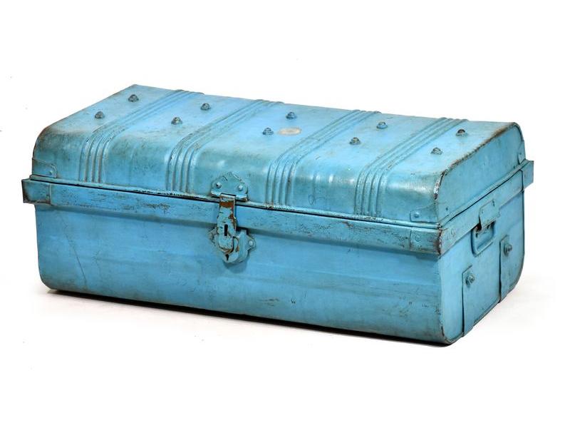Plechový kufr, antik, tyrkysový, 70x38x28cm