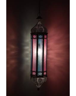 Arabská lampa, multibarevná, bílá patina, sklo, ruční práce, cca 21x97cm