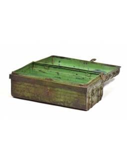 Plechový kufr, antik, zelený, 61x35x28cm