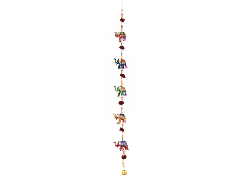 Dekorace k zavěšení, pět slonů se zvonečkem, ručně malované, délka 89cm
