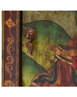 Ručně malovaná dřevěná antik komoda z Tibetu, 39x38x84cm