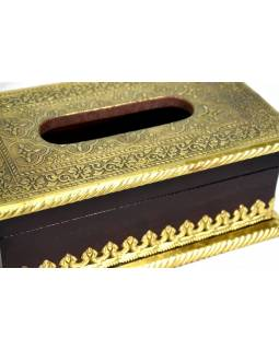 Krabička na kapesníky, drěvěná, zdobená mosazným plechem, 25x15x10cm