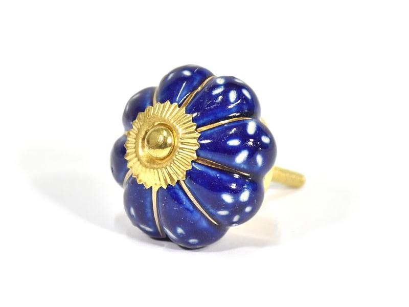 Malované porcelánové madlo na šuplík, modro-zlatý dekor, prům.5cm