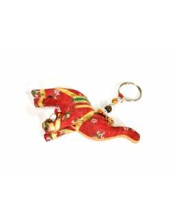 Přívěsek na klíče slon se zvonečkem, červený, 9x6cm