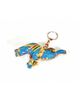 Přívěsek na klíče slon se zvonečkem, modrý, 9x6cm