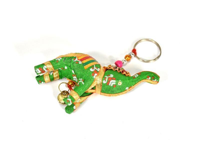 Přívěsek na klíče slon se zvonečkem, zelený, 9x6cm