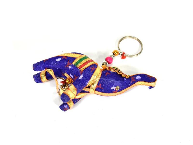 Přívěsek na klíče slon se zvonečkem, fialová, 9x6cm