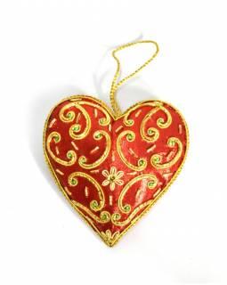 Ručně vyráběná vánoční ozdoba srdíčko, červené, zdobená, 11x10cm
