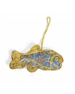 Ručně vyráběná vánoční ozdoba ryba, modrý brokát, zdobená, 11x6cm