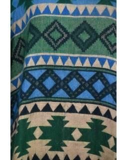 Barevné pončo s límcem a třásněmi, vzor aztec, zeleno-modré