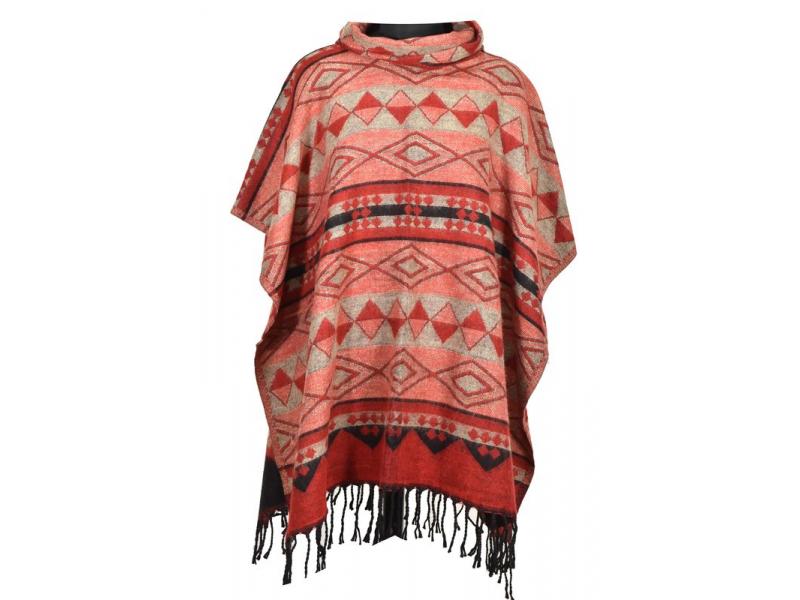 Barevné pončo s límcem a třásněmi, vzor aztec, červené