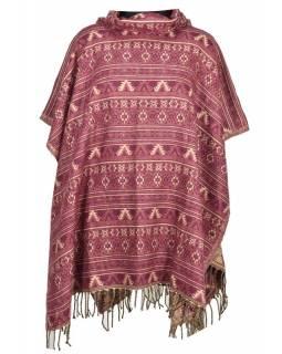 Barevné pončo s límcem a třásněmi, vzor mini aztec, fialové