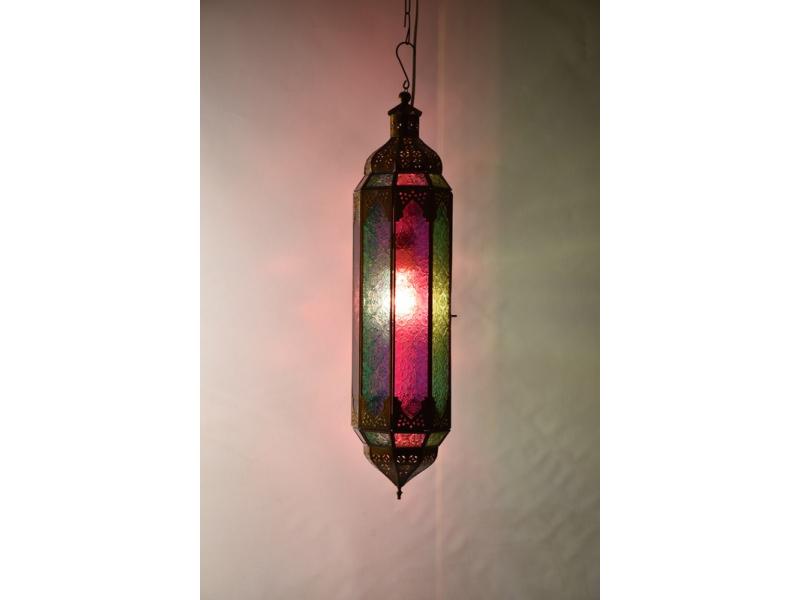 Arabská lampa, červeno zelená, mosaz, ruční práce, cca 15x40cm