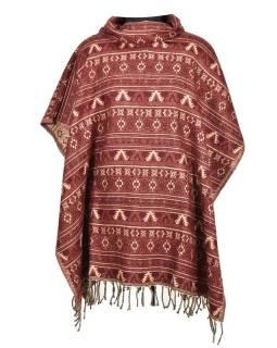 Barevné pončo s límcem a třásněmi, vzor mini aztec, vínová