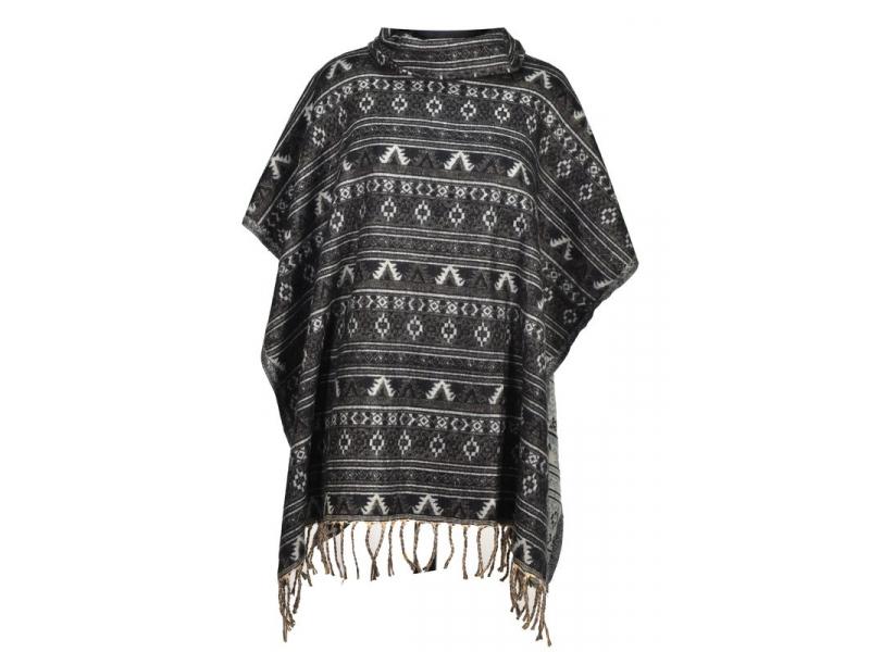 Barevné pončo s límcem a třásněmi, vzor mini aztec, černá