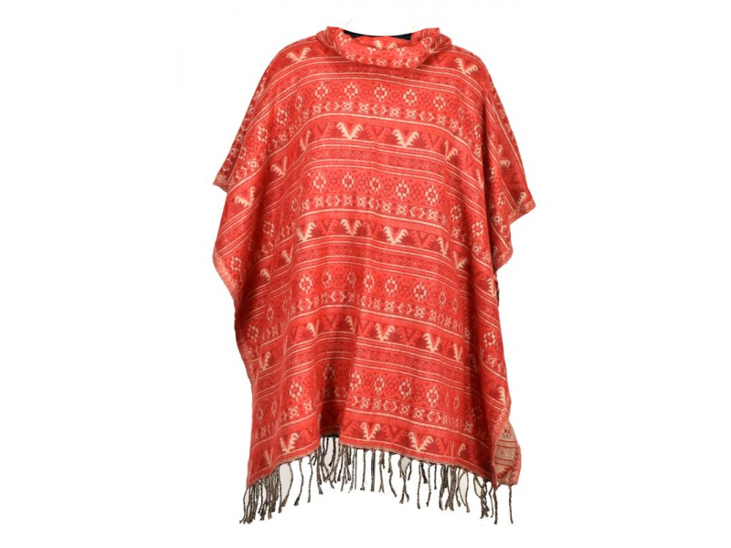 Barevné pončo s límcem a třásněmi, vzor mini aztec, červená
