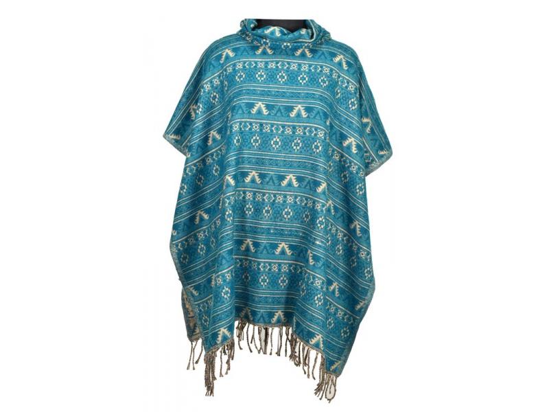 Barevné pončo s límcem a třásněmi, vzor min aztec, zelená