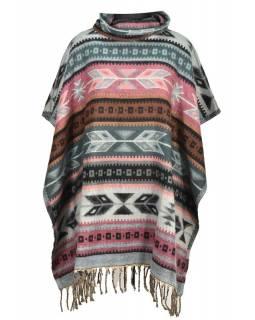 Barevné pončo s límcem a třásněmi, vzor aztec, přírodní šedé a růžové barvy
