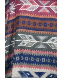 Barevné pončo s límcem a třásněmi, vzor aztec, přírodní šedé a modré barvy