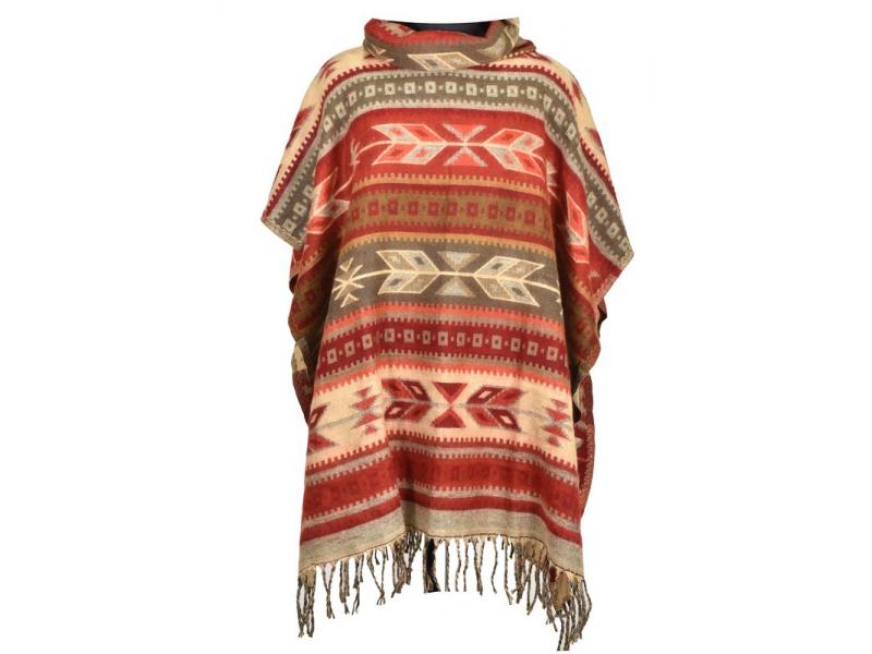 Barevné pončo s límcem a třásněmi, vzor aztec, přírodní červené a hnědé