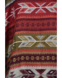 Barevné pončo s límcem a třásněmi, vzor aztec, přírodní červené a béžové