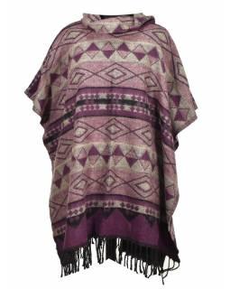 Barevné pončo s límcem a třásněmi, vzor aztec, fialové