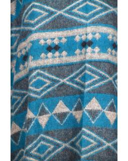 Barevné pončo s límcem a třásněmi, vzor aztec, tyrkysové