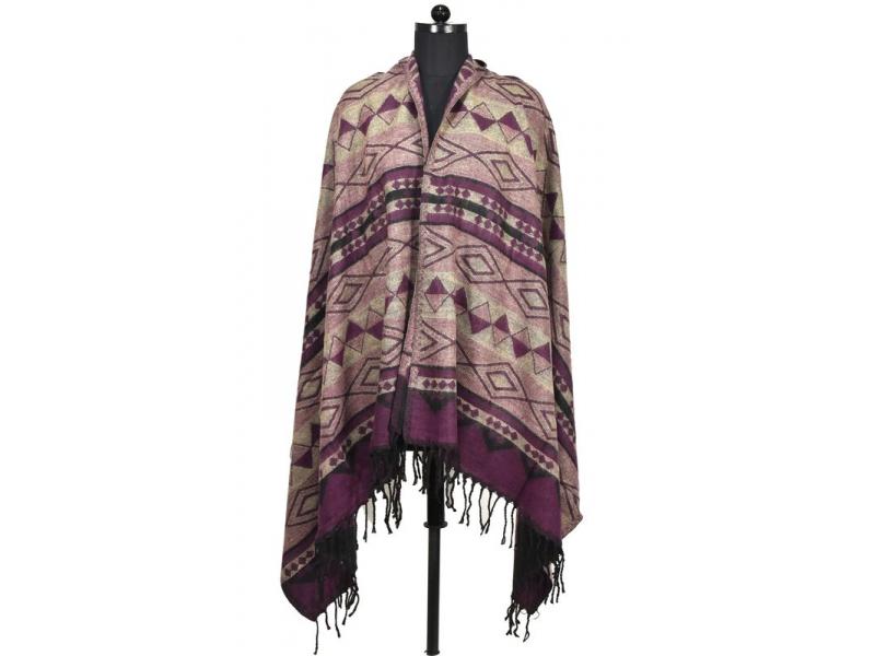 Velký zimní šál se vzorem aztec, fialová, 205x95cm