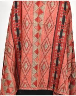 Velký zimní šál se vzorem aztec, červená, 205x95cm