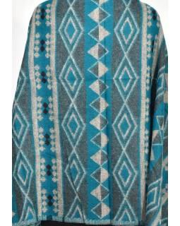 Velký zimní šál se vzorem aztec, tyrkysová, 205x95cm