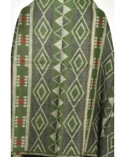 Velký zimní šál se vzorem aztec, khaki, 205x95cm