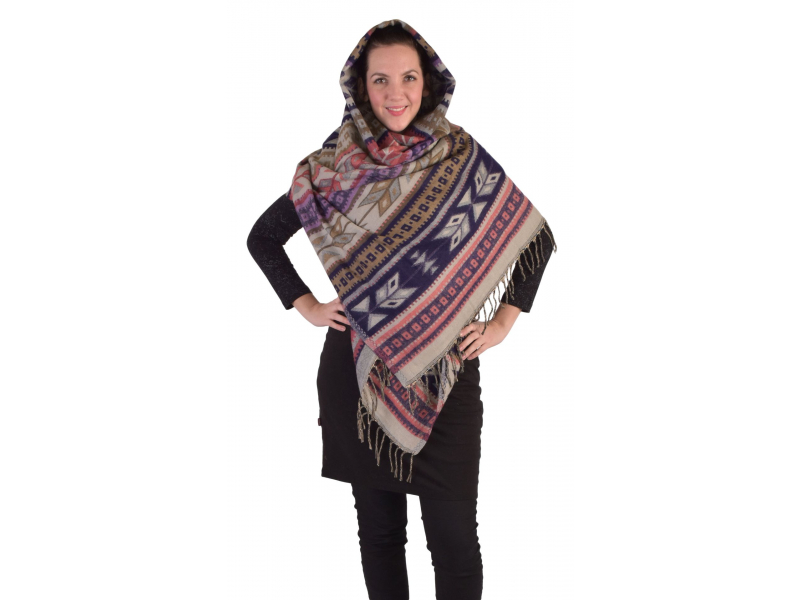 Velký zimní šál s geometrickým vzorem, fialová, 205x95cm