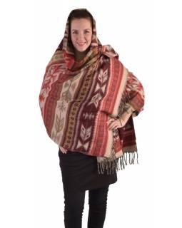 Velký zimní šál s geometrickým vzorem, červená, 205x95cm
