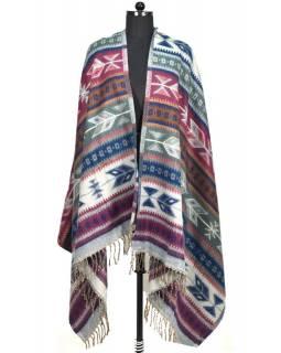 Velký zimní šál s geometrickým vzorem, fialovo-šedá, 205x95cm
